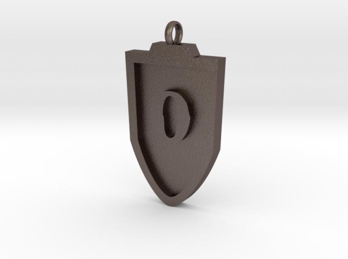 Medieval O Shield Pendant 3d printed