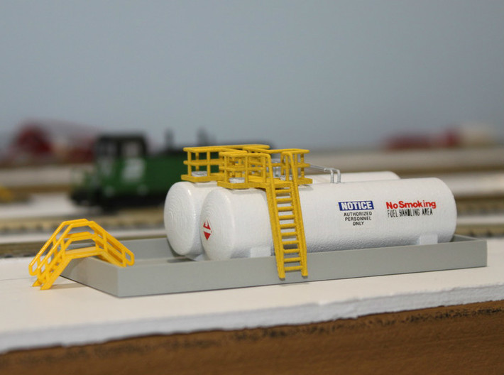 N Scale Tank Farm walkway, ladder and pipes 3d printed Tanks in Polished White Strong&Flexible, walkway and pipes in Frosted Ultra Detail.  Thanks for the picture Dave!