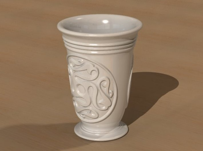 Celtic cup with swastika ornament 3d printed Full view