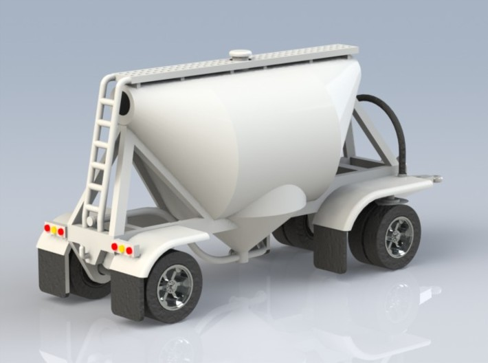 HO 1/87 Shorty Dry Bulk Trailer 07a (pup & dolly) 3d printed CAD render showing rear details.
