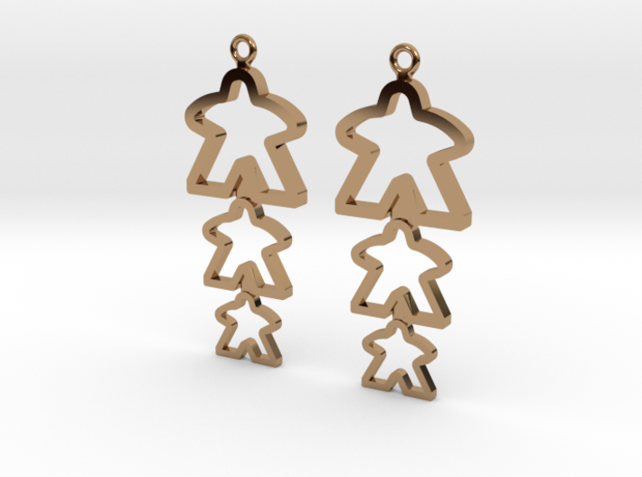 Meeple Earrings B silhouette 3d printed