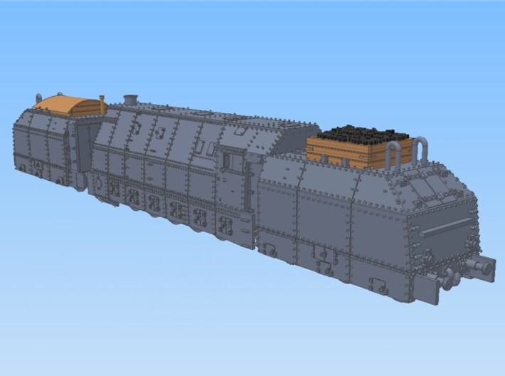 1-160 BR 57 Armored Loco + 2 Tenders For BP-42 3d printed