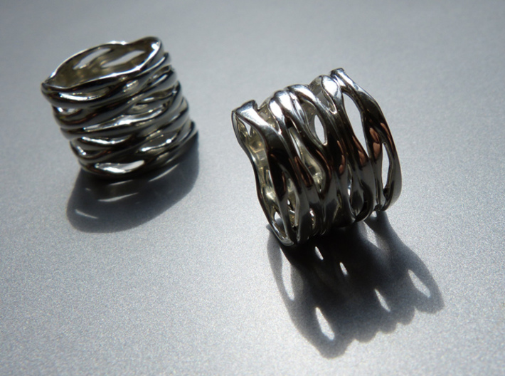 BASHIBA RAW WAVES (16.6 mm) 3d printed Raw Waves in Premium Silver