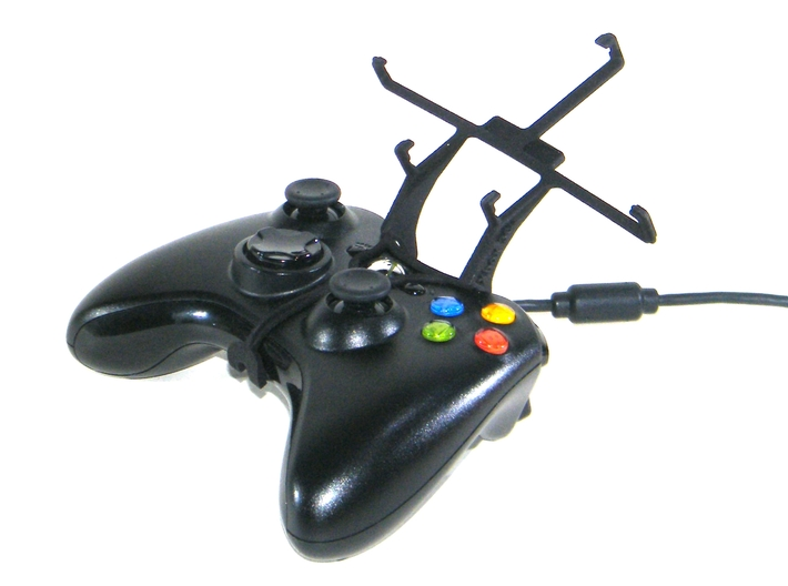 Xbox 360 controller & Cat B15 Q 3d printed Without phone - A Samsung Galaxy S3 and a black Xbox 360 controller