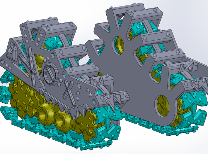Ork Steam Gargant Style Track Cover Set 3d printed Tracks and Covers Shown