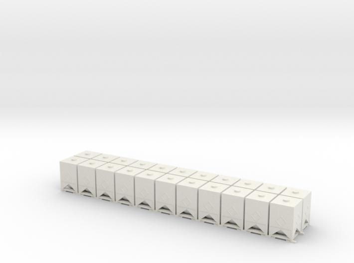 HO 1/87 Square Bins for flatcar loads (x22) 3d printed