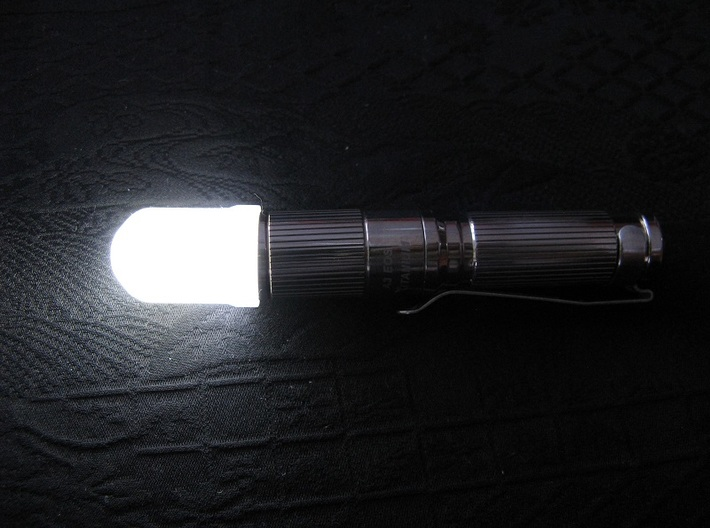 14mm Flashlight Diffuser (Dome Top) 3d printed Diffuser mounted on an iTP A3 EOS titanium AAA flashlight (not included)