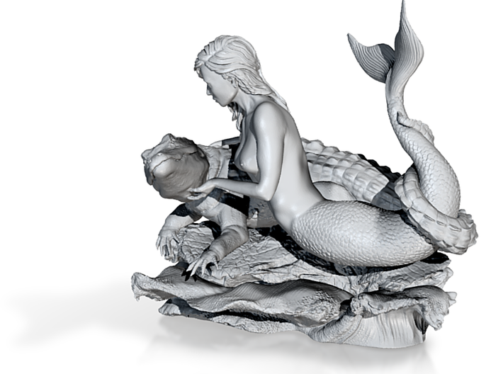 """Mermaid with Alligator: """"Rescue"""" 3d printed Mermaid with Alligator: """"Rescue"""""""