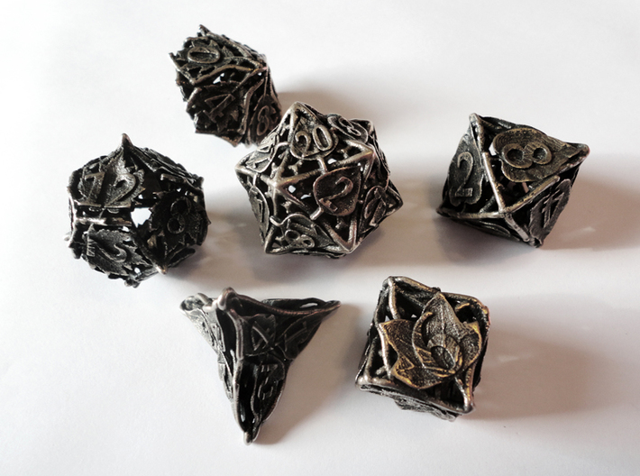 Botanical Dice Set 3d printed In stainless steel and inked