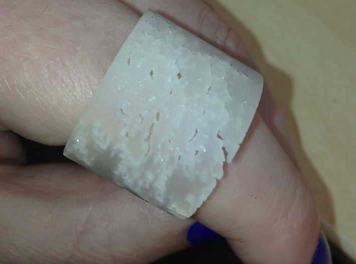 Erosion Ring Size 12 3d printed I like the frosted, it looks like sea glass