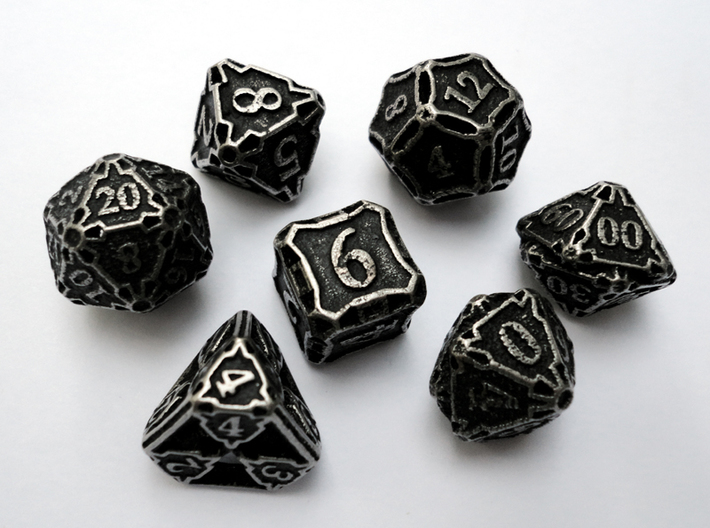 Premier Dice Set with Decader 3d printed In stainless steel and inked.