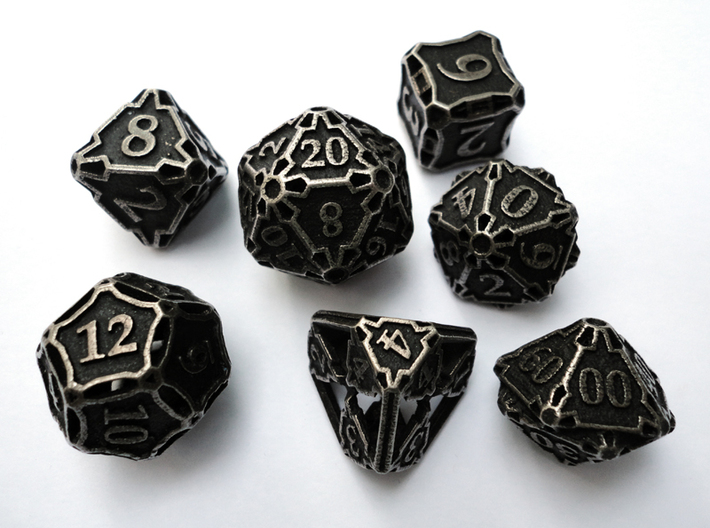 Large Premier Dice Set with Decader 3d printed In stainless steel and inked.