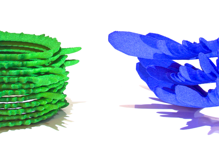 """0.05 Seconds of Water Running (3.25 turns) 3d printed A photo of the first run of """"Water"""" in blue and """"Insects"""" in green"""