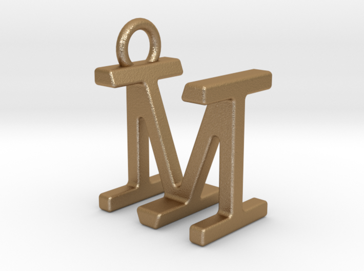 Two way letter pendant - IM MI 3d printed