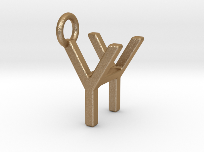 Two way letter pendant - HY YH 3d printed
