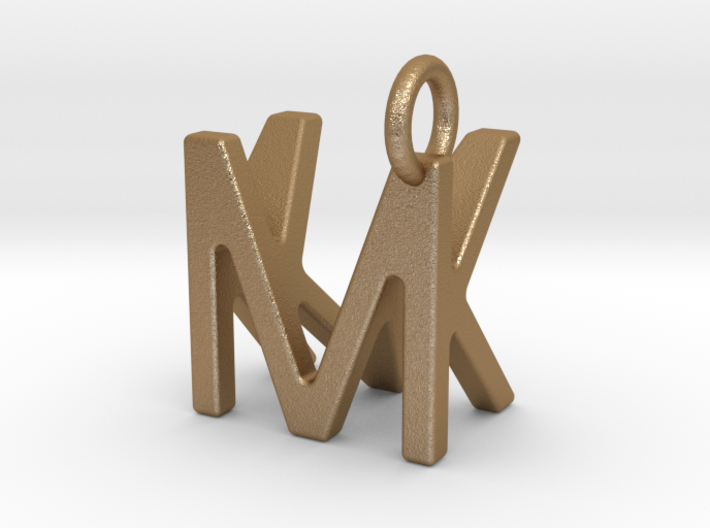 Two way letter pendant - KM MK 3d printed