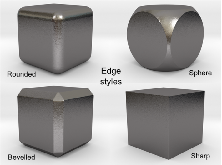 Roll your own d6: Hollow steel; any number of pips 3d printed Choose the edge smoothing from these options.
