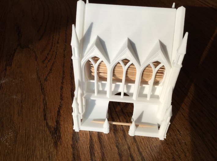 Gothic Cathedral Toothpick Dispenser 3d printed Front with Toothpicks inside