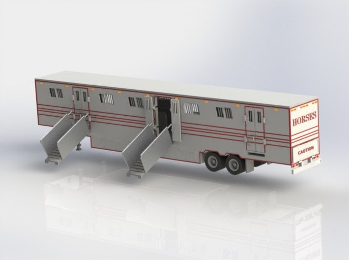 HO 1/87 Horsebox 59' Semi 02 3d printed CAD render showing Promotex chassis fitted.