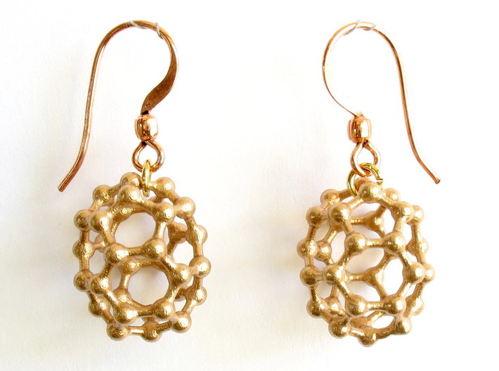 C32 buckyball earrings 3d printed Earrings printed in bronze, with copper earwires added