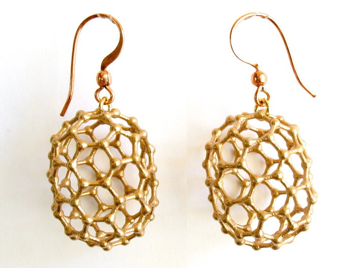 C80 Buckyball earrings 3d printed Earrings printed in bronze, with copper earwires added