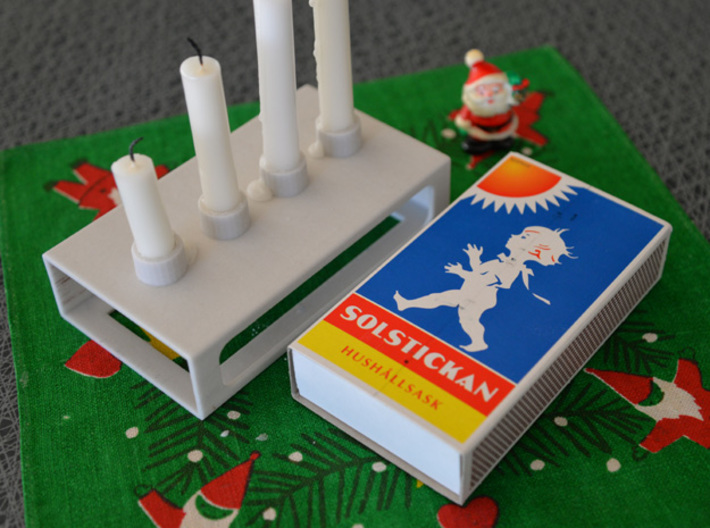 Advent candle- and match holder. 3d printed Candelholder in sandstone material