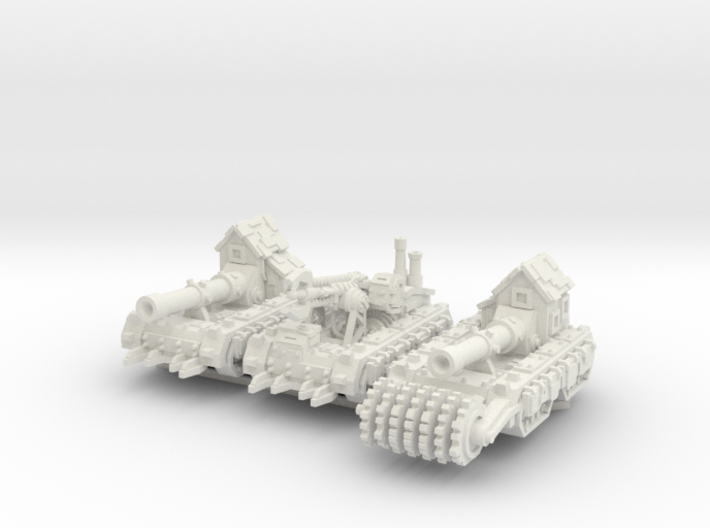 6mm Super-kannon Wagons (x3) 3d printed