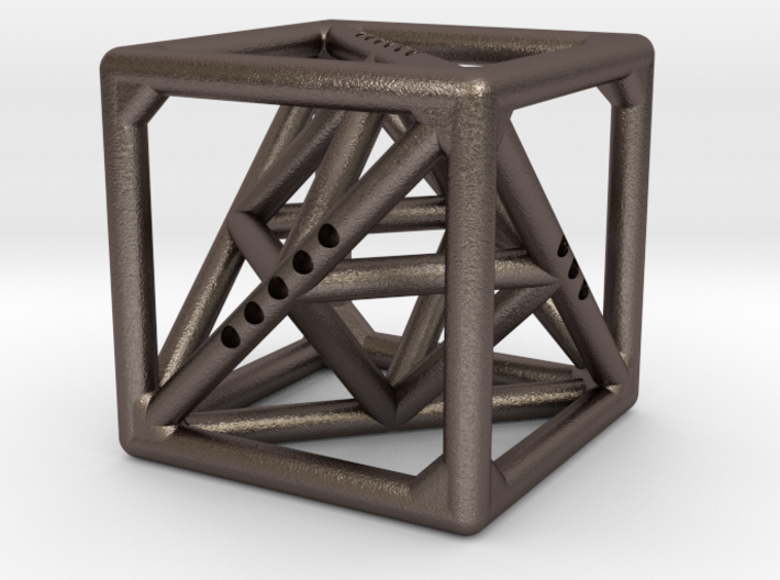 Cube with Tetrahedron and Octahedron inside 3d printed