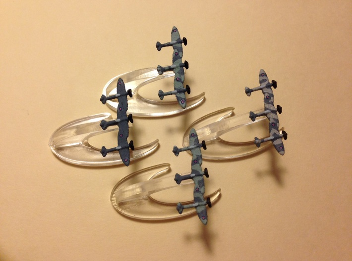 Spitfire Mk. I/V (Triplet) 1/900 x4 3d printed Models beautifully painted by danmcfeely