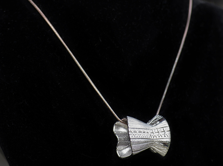 Victorian Corset - c. 1873 3d printed Victorian Corset in Rhodium Plated as a  pendant.