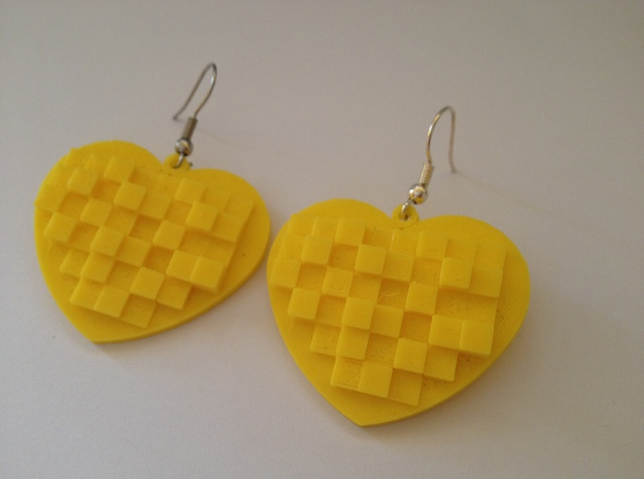 Mosaic Heart Earrings Large 3d printed This is a real product shot.
