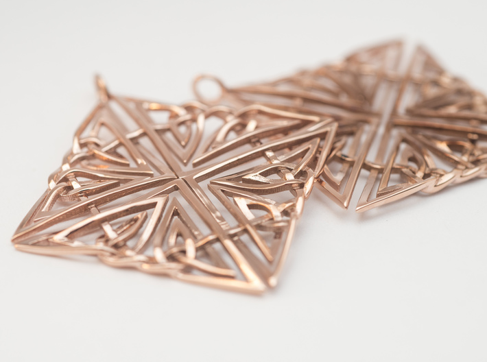 Celtic Knot Earring 3d printed Rose Gold Plated Celtic Earrings