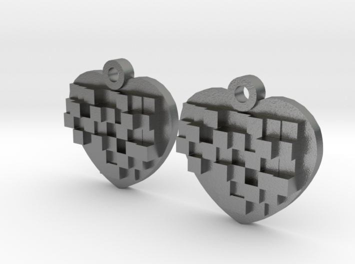 Mosaic Heart Earrings Small 3d printed