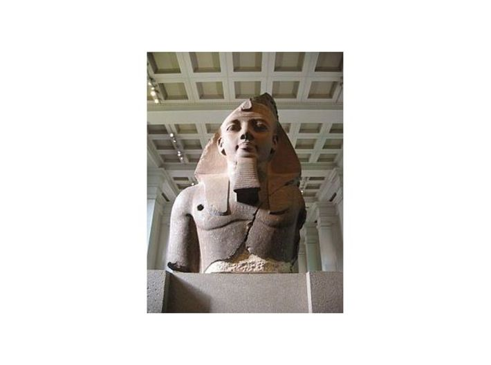 Ramesses II (1279 – 1213 BC), The Colossal Bust of 3d printed 2.7 m high (9 ft.) by 2 m wide (6 ½ ft.), weighs 7.25 tons, and was cut from a single block of two-colored granite