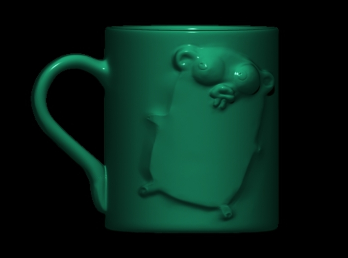 Golang (GO) Gopher Cup 3d printed Front view in a green glossy material (Porcelain)