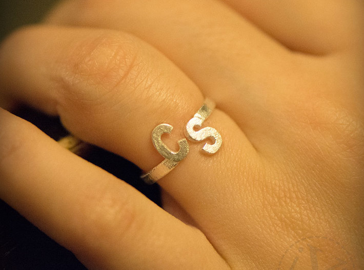 Initial Ring Band Adjustable Size 3d printed