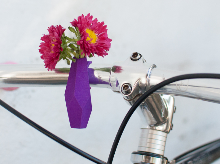 Geometric Bike Planter 3d printed Printed in Purple Strong and Flexible Polished shown with red Japanese Asters.