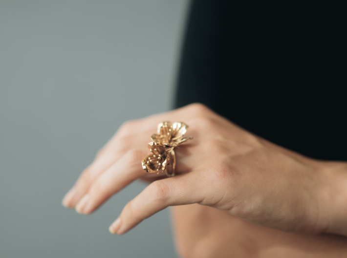 Double Cherry Blossom Ring 3d printed