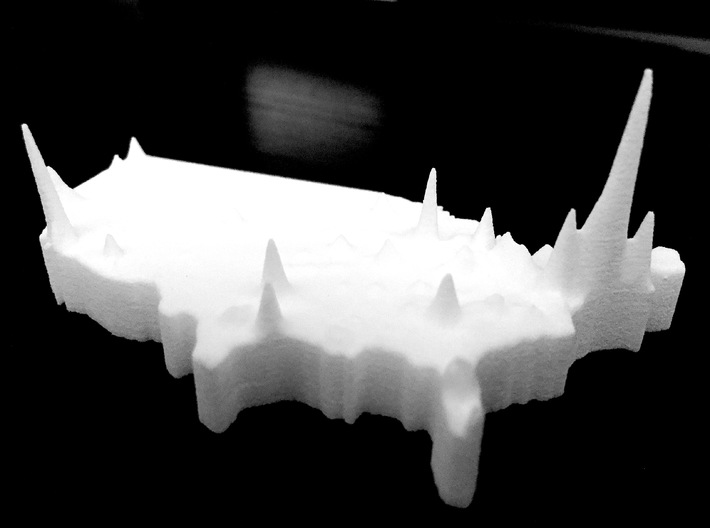 US Population Density Map 3d printed