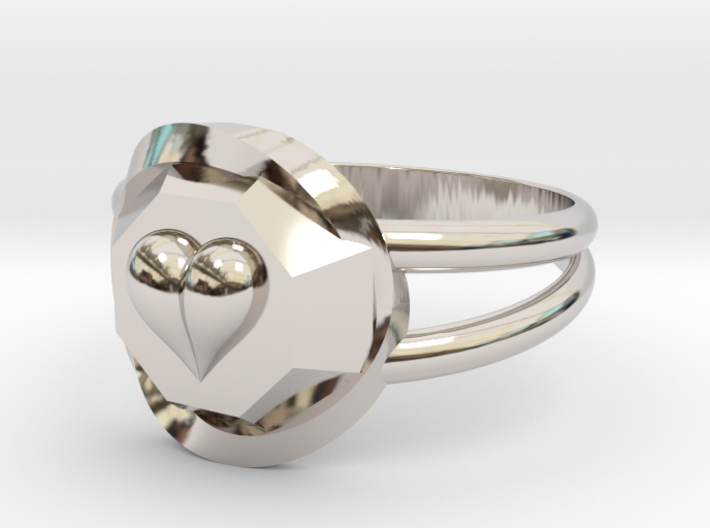 Size 10 Diamond Heart Ring F 3d printed