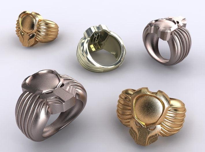 Predator Ring 19mm 3d printed Stainless Steel, Gold Plated matte & Premium Silver renders
