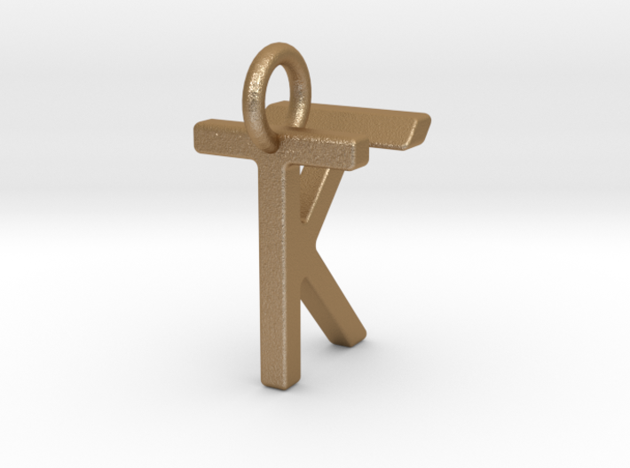 Two way letter pendant - KT TK 3d printed