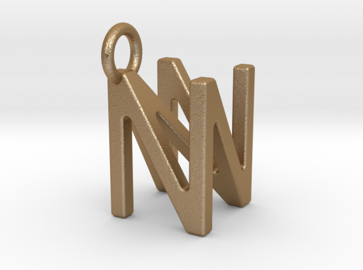 Two way letter pendant - NN N 3d printed