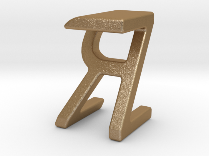 Two way letter pendant - RZ ZR 3d printed