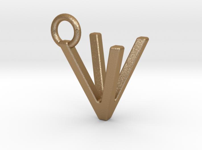 Two way letter pendant - VV V 3d printed