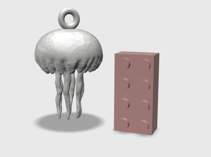 Small Customizable Jellyfish Ornament  3d printed 4x2 Brick for size comparison