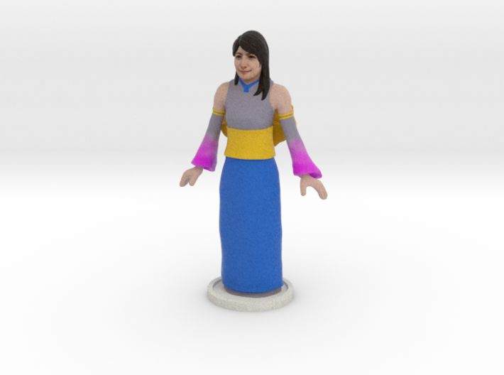 Grey, Blue & Pink Gown 3d printed