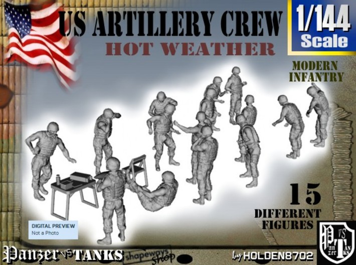 1-144 US Artillery Crew Hot Weather 3d printed