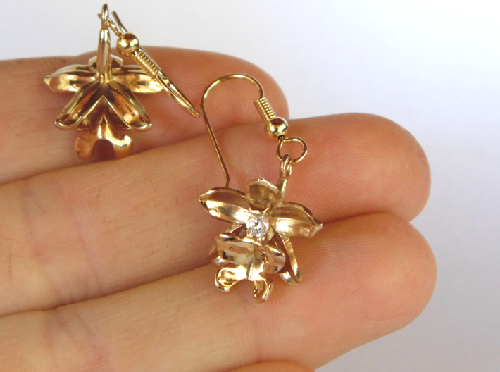 Little Orchid Earrings 3d printed