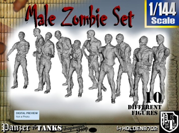 1-144 Male Zombie Set 3d printed